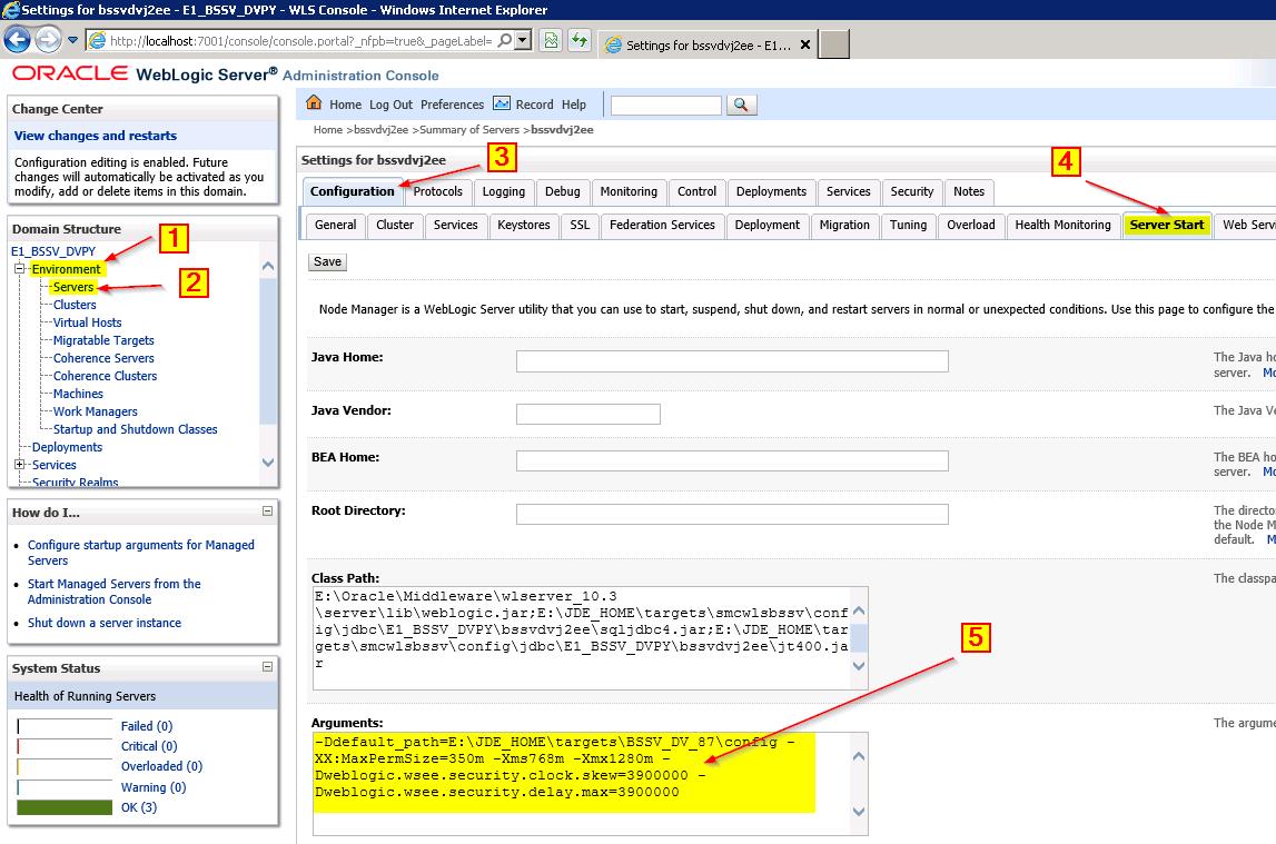 Oracle Weblogic Clock Skew